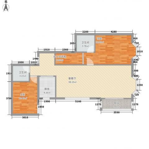 九台2000家园2室1厅2卫1厨83.62㎡户型图