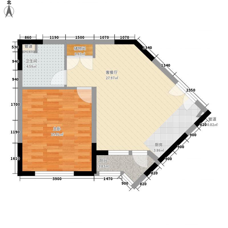 绿城百合公寓70.56㎡绿城百合公寓户型图20061003-H户型1室1厅1卫1厨户型1室1厅1卫1厨