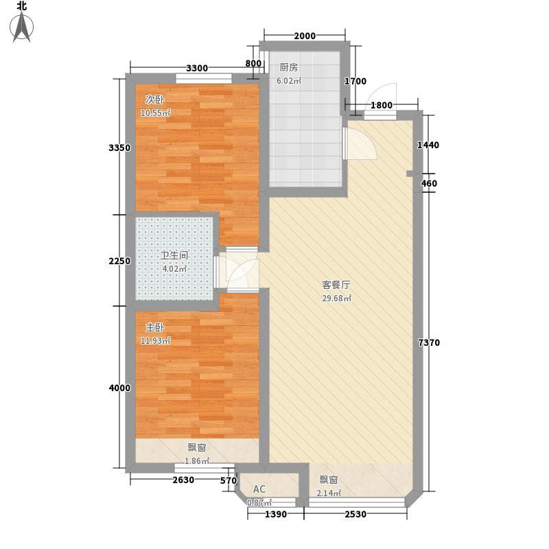 金地褐石小镇88.00㎡37#楼33层大高层户型2室2厅1卫1厨