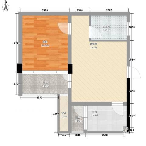 共和世家1室1厅1卫1厨50.00㎡户型图
