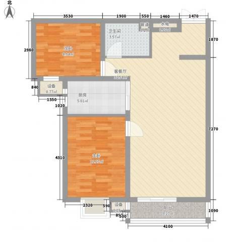 水悦雅居2室1厅1卫1厨95.00㎡户型图
