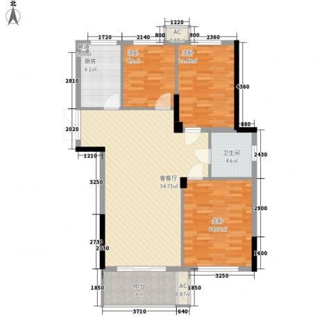 东方华庭3室1厅1卫1厨97.42㎡户型图