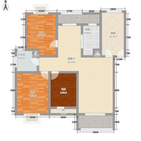 美兰湖颐景园别墅3室1厅1卫1厨111.00㎡户型图