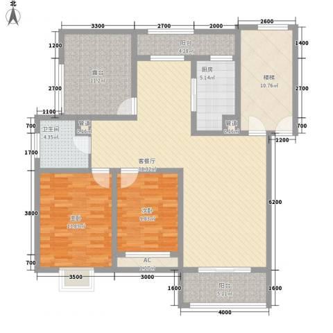 美兰湖颐景园别墅2室1厅1卫1厨104.48㎡户型图