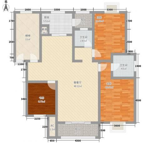 美兰湖颐景园别墅3室1厅2卫1厨119.00㎡户型图