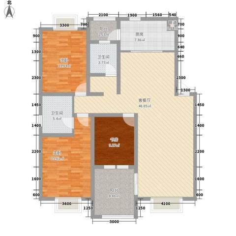 美兰湖颐景园别墅3室1厅2卫1厨137.00㎡户型图