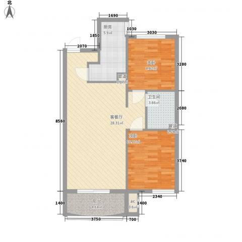 达润时代逸城五期2室1厅1卫1厨88.00㎡户型图