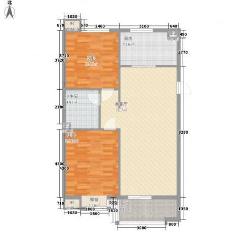 达润时代逸城五期2室1厅1卫1厨106.00㎡户型图