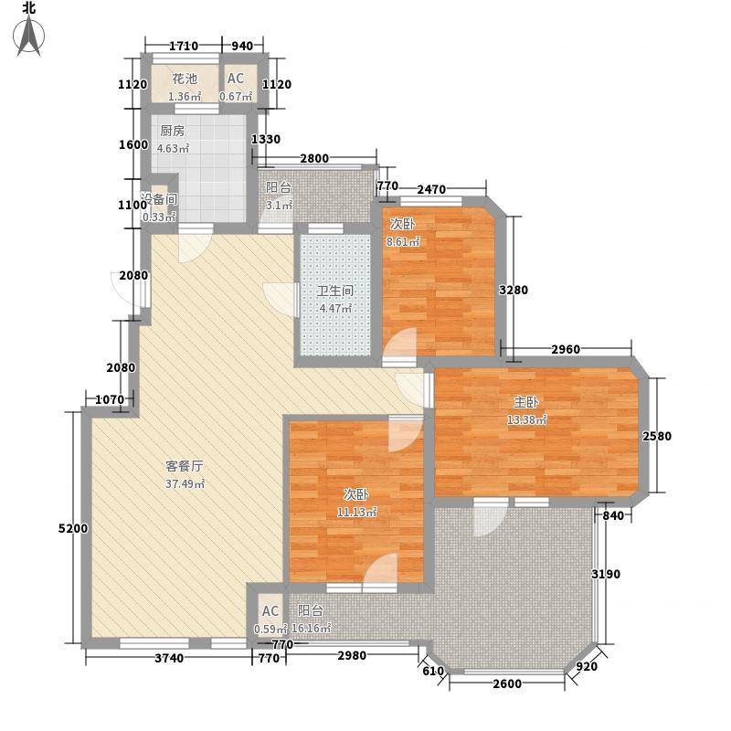 金地褐石小镇12.00㎡15#楼7层洋房标准层6层户型3室2厅1卫1厨