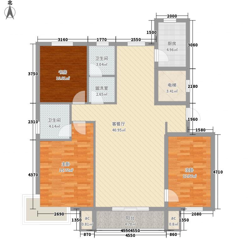 永缙学府147.00㎡8/9号楼H2户型3室2厅2卫1厨