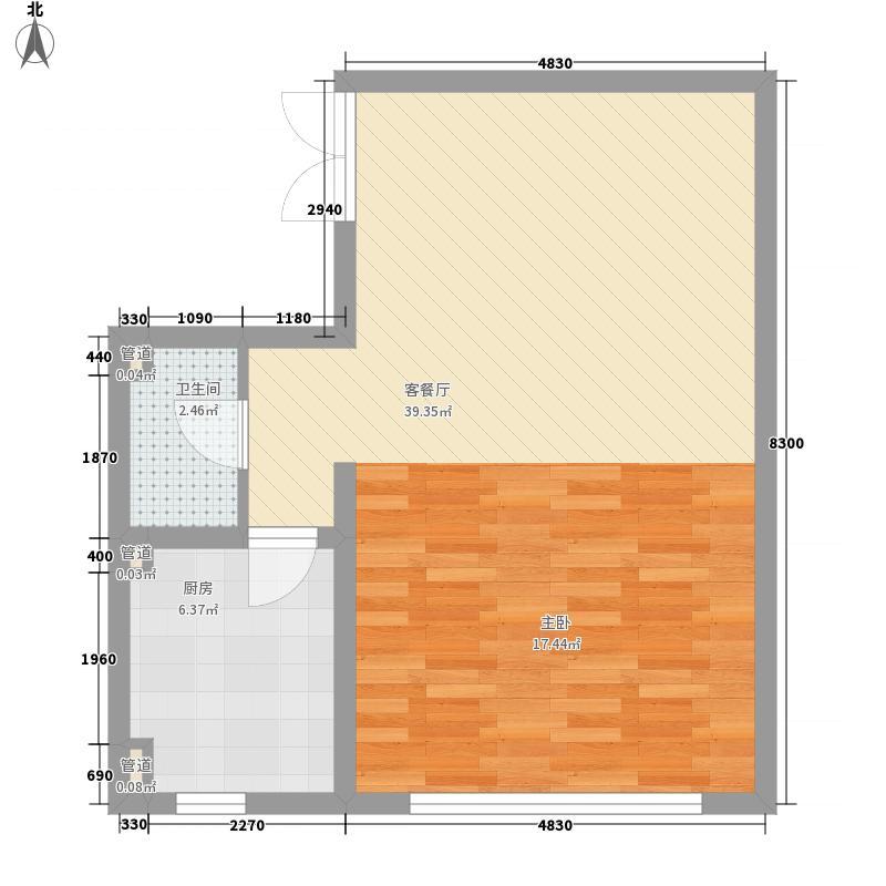 华宇经典67.00㎡一期B反户型1室1厅1卫1厨