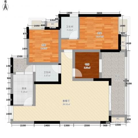 伟豪创世纪3室1厅2卫1厨108.00㎡户型图