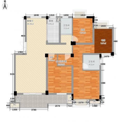 东方华庭3室1厅2卫1厨131.86㎡户型图
