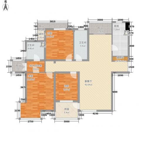 富力津门湖棕榈花园3室1厅2卫1厨136.67㎡户型图