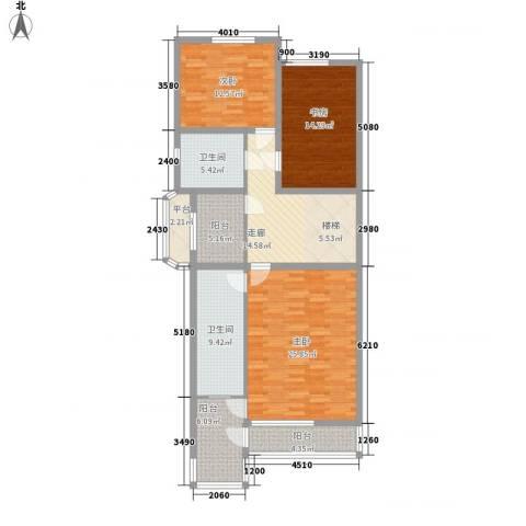南湖新村3室0厅2卫0厨143.00㎡户型图