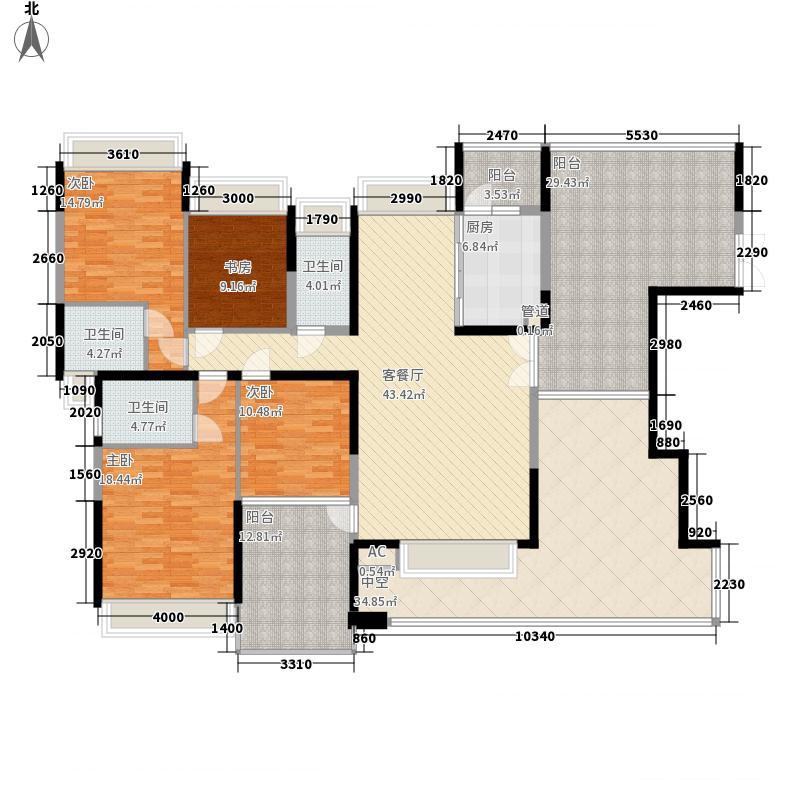 公园大地170.00㎡四房二厅三卫户型