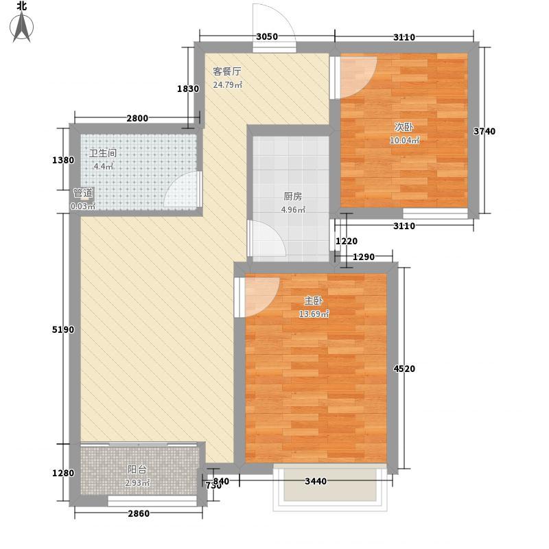 盛达铂宫二期87.20㎡J户型2室2厅1卫1厨