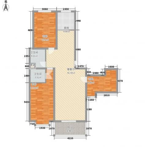 水悦雅居3室1厅2卫1厨144.00㎡户型图
