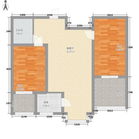 水悦雅居2室1厅1卫1厨106.00㎡户型图