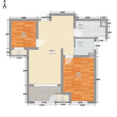 新城公馆别墅2室1厅1卫1厨81.00㎡户型图