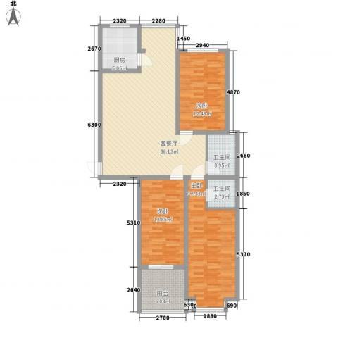 水悦雅居3室1厅2卫1厨139.00㎡户型图