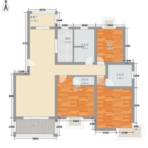 三岛龙州苑3室1厅3卫1厨122.00㎡户型图