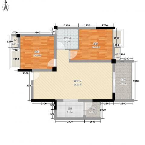 福康瑞琪曼国际社区2室1厅1卫1厨98.00㎡户型图