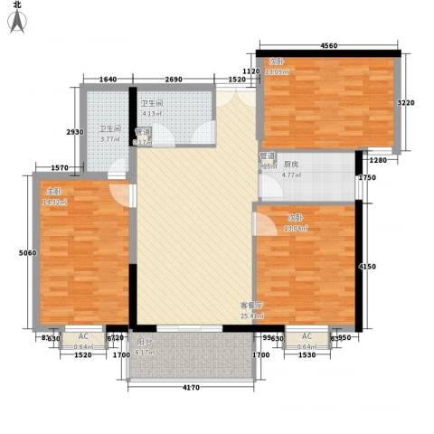 海钻凤凰城3室1厅2卫1厨121.00㎡户型图