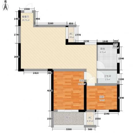 桂花公寓2室1厅1卫1厨80.00㎡户型图