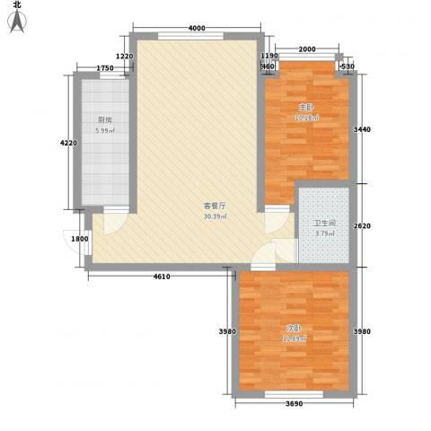 恒奥・凤凰城2室1厅1卫1厨63.24㎡户型图