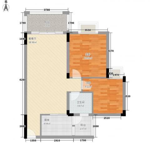 帝景蓝湾2室1厅1卫1厨85.00㎡户型图