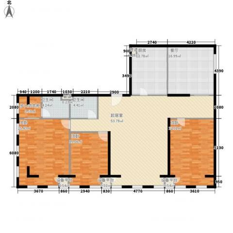 云鼎3室1厅2卫1厨220.00㎡户型图