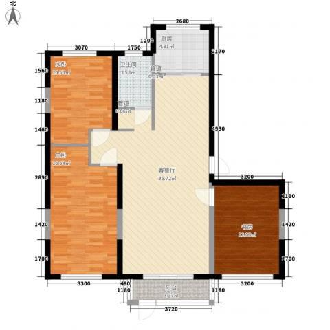 中冶蓝城3室1厅1卫1厨122.00㎡户型图