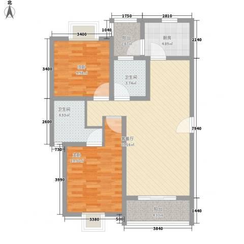 三岛龙州苑2室1厅2卫1厨104.00㎡户型图