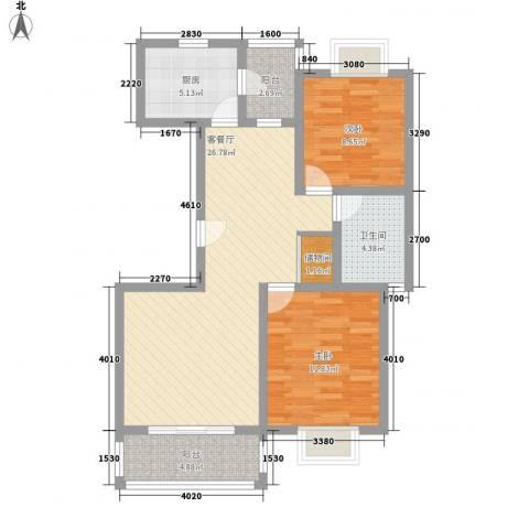 三岛龙州苑2室1厅1卫1厨96.00㎡户型图
