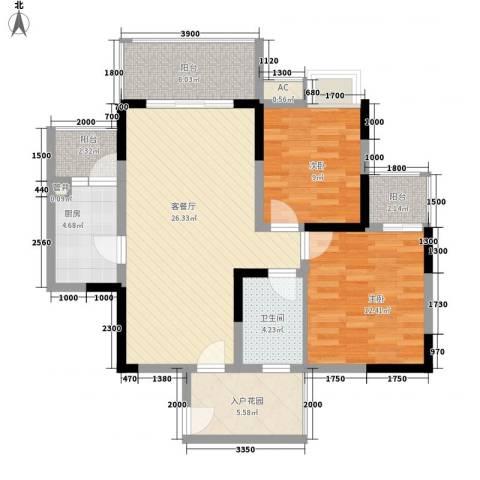 福康瑞琪曼国际社区2室1厅1卫1厨92.00㎡户型图