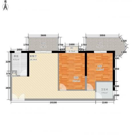 海钻凤凰城2室1厅1卫1厨107.00㎡户型图