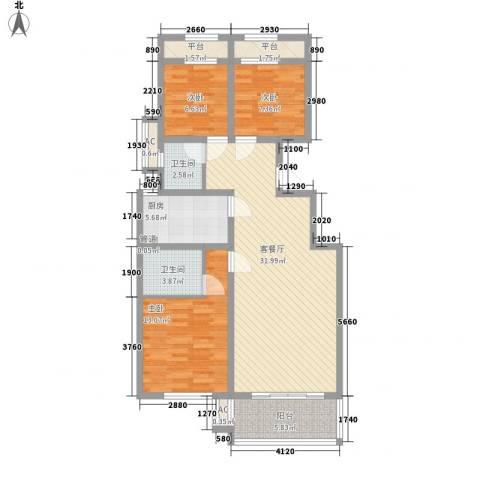 天朗大兴郡二期瀚苑3室1厅2卫1厨120.00㎡户型图