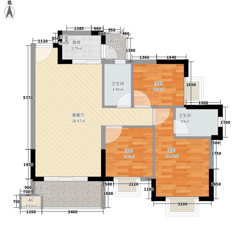 香树丽舍户型图2栋3栋03单位标准层C户型 3室2厅2卫