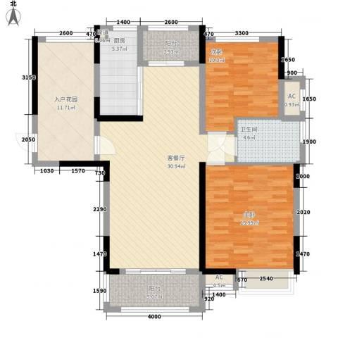 绿地中央广场2室1厅1卫1厨108.00㎡户型图