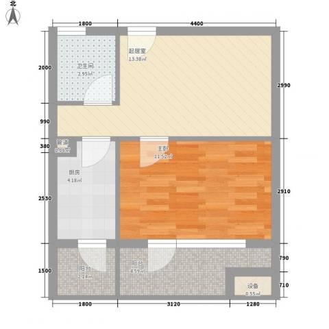 华贸公园郡1室0厅1卫1厨57.00㎡户型图
