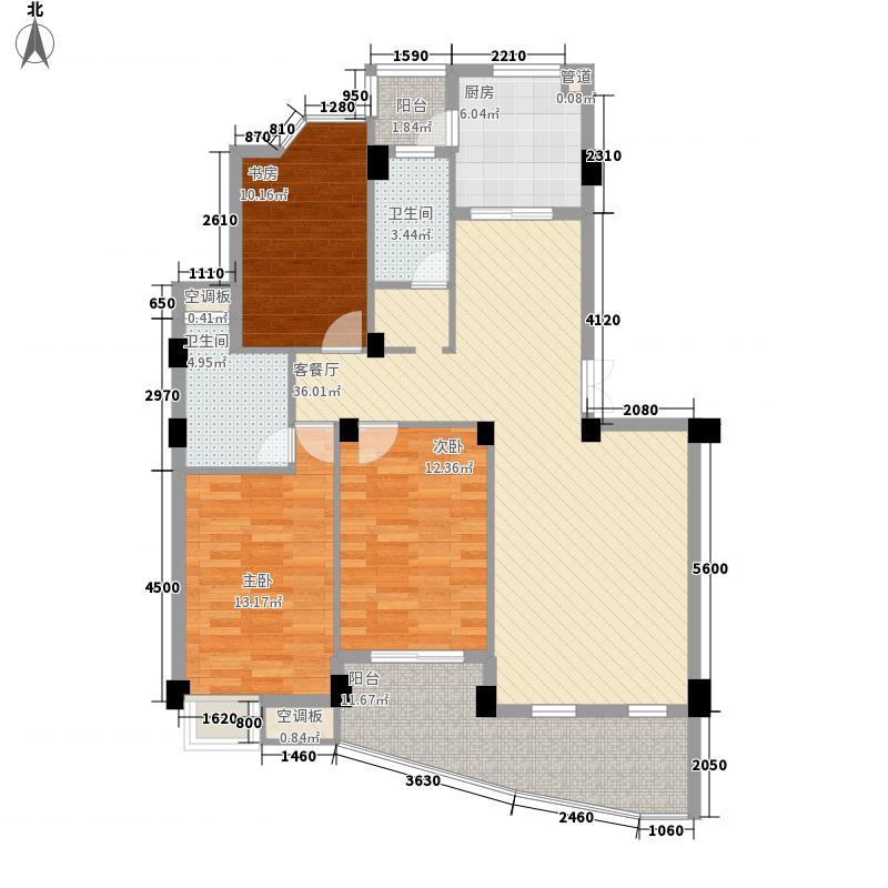 蓝湾景天131.40㎡6#02单元户型3室2厅2卫1厨