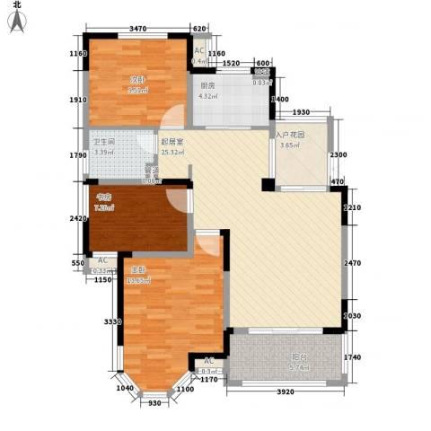 名尚国际3室0厅1卫1厨73.96㎡户型图