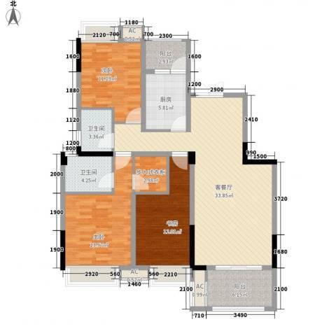 福康瑞琪曼国际社区3室1厅2卫1厨142.00㎡户型图