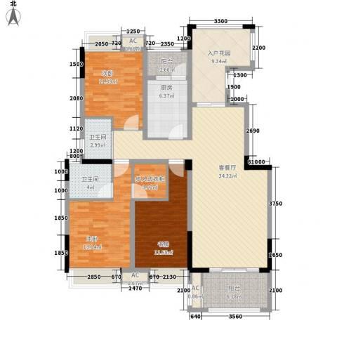 福康瑞琪曼国际社区3室1厅2卫1厨156.00㎡户型图