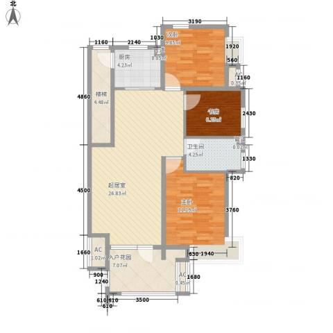 名尚国际3室0厅1卫1厨76.05㎡户型图