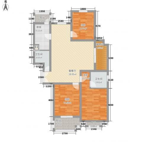 欣安基公寓3室1厅2卫1厨127.00㎡户型图