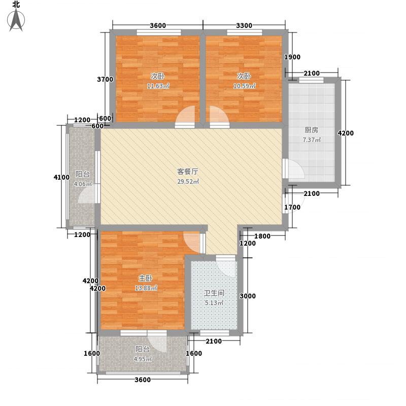 龙城金帝园122.40㎡F户型3室2厅1卫