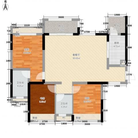 蒂梵尼TOWN3室1厅2卫1厨106.00㎡户型图