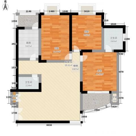 欣安基公寓3室1厅2卫1厨115.00㎡户型图